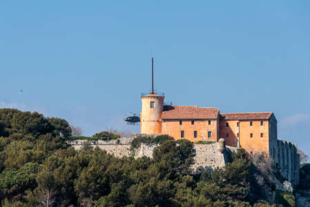 A low angle shot of the island Sainte marguerite Cannes in France, French Riviera