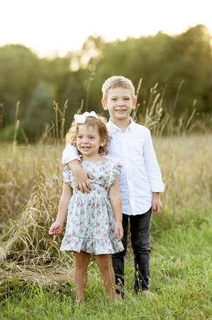 A vertical shot of a little brother hugging his sister while standing in a grassy field Stock fotó