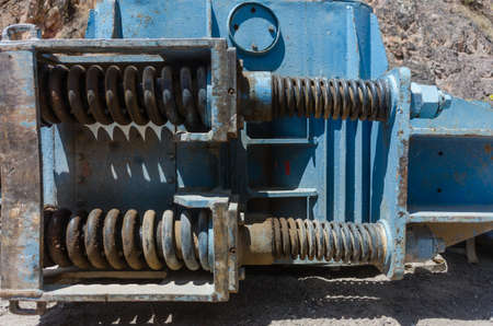 Close view of a piece of construction machinery placed on the ground
