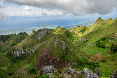 A beautiful scenery of Osmena Peak in the Philippines under the cloudy sky