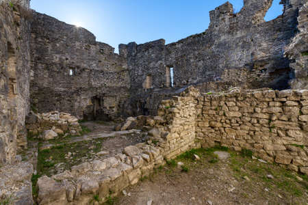 The inside of an old historic ruined castle in Istria, Croatia