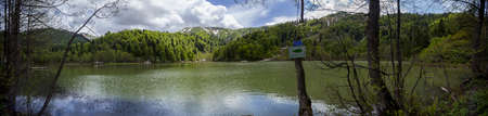 A panoramic shot of a lake surrounded by a forest under a cloudy sky and trees in the foreground
