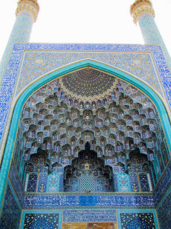 A vertical low angle shot of the beautiful Shah Mosque captured in Isfahan, Iran