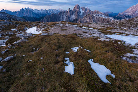 The land texture in the Italian Alps and the Mountain Cadini di Misurina in the background