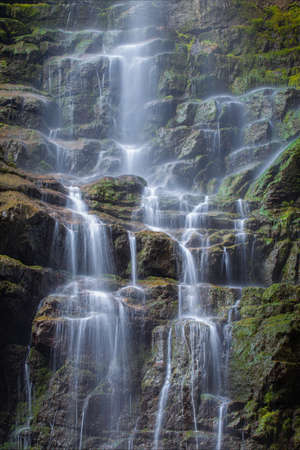 A vertical shot of a small waterfall in the mossy rocks of the Skrad municipality in Croatia