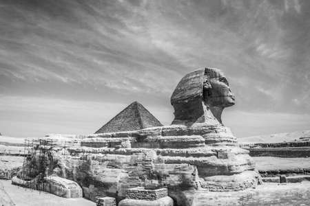 A low angle shot of the famous historic Egyptian Sphinx under the gloomy sky
