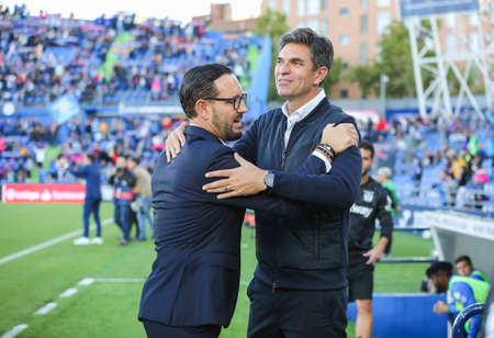 GETAFE, SPAIN - Oct 19, 2019: Bordalas, coach of Getafe, and Pellegrino, Coach of Leganes, during Getafe - CD. Leganes. Coliseum Stadium, Getafe, Madrid.