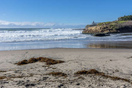 A beautiful view of the beach and the ocean captured in Santa Cruz, CA, USA
