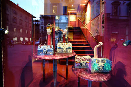 an extravagant purse in window shop, fashion in Italy