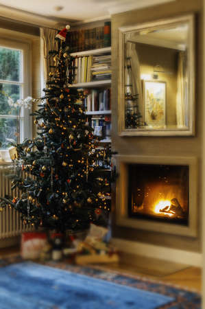 A vertical shot of an indoor Christmas tree next to a lit fireplace in a cozy comfortable house