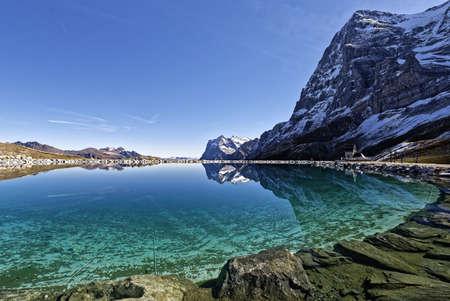 The mythical Eiger North Face seen from Kleine Scheidegg, Switzerland Stock Photo