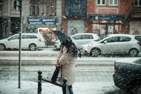 A person with an umbrella standing under the snow by a street
