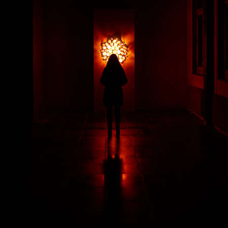 A girl standing in front of a wall with a huge lamp reflecting on the floor