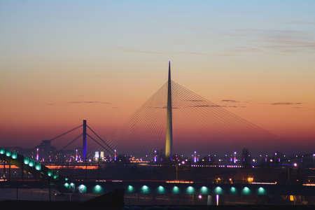 Ada bridge on Sava river at sunset. Modern design and architecture. Reklamní fotografie