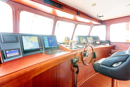 An interior shot from the control room of the yacht Reklamní fotografie