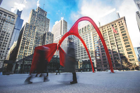 The famous historic Flamingo created by Alexander Calder in Chicago, Illinois Stock fotó