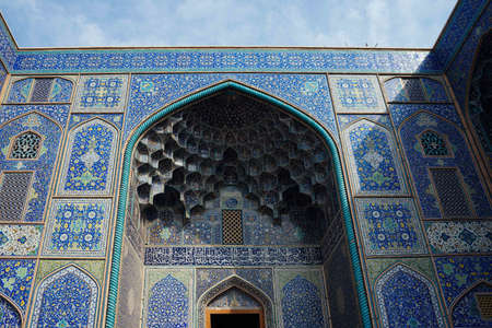 ISFAHAN, IRAN - Oct 28, 2019: The beautiful architecture of the Shah's Mosque in Isfahan