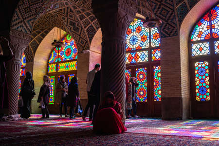 CHIRAZ, IRAN - Oct 26, 2019: Inside of the pink mosque in Chiraz