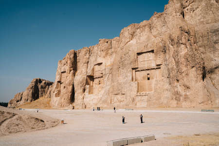 CHIRAZ, IRAN - Oct 26, 2019: Naqsh-e Rustam contains four royal Achaemenid rock tombs. One of these, would be the tomb of Darius I. Éditoriale