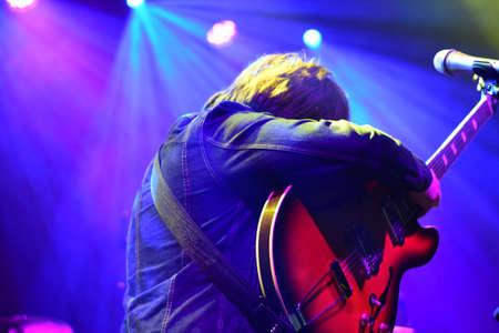 BRISTOL, ENGLAND, UNITED KINGDOM - Feb 21, 2018: Singer-songwriter Paul Draper in performance at the SWX night club, Bristol, England. 21 February 2018.