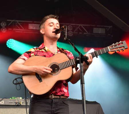 BRISTOL, ENGLAND, UNITED KINGDOM - Jun 29, 2019: Irish indie folk band Villagers in performance at the Bristol  Sounds Festival, Bristol, England. June 29 2019.