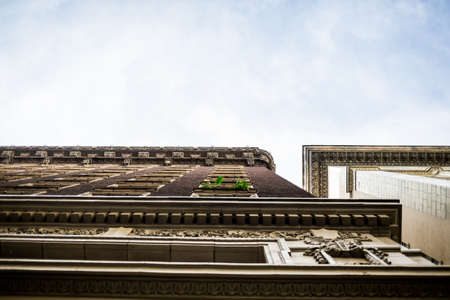 LOS ANGELES, UNITED STATES - Mar 03, 2016: worm's eye view of an old building in downtown los angeles