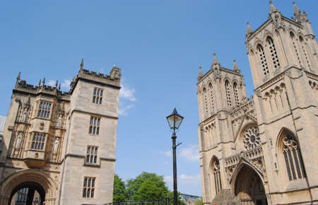 View towards Bristol Cathedral and the Abbey Gatehouse, Bristol, England. Stock Photo