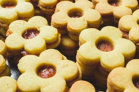 A closeup shot of sweet chookies made with jam
