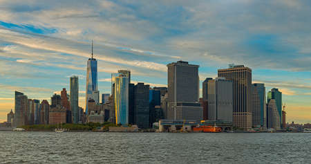 A wide shot of governors island national monument of new york city in USA Stock fotó