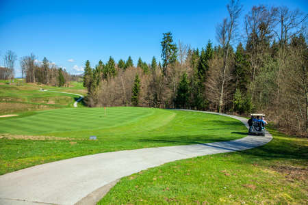 A high angle shot of the path in the golf course in Otocec, Slovenia