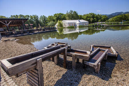 A camping area near the lake in the countryside in the Waterpark Radlje, Slovenia Stock fotó