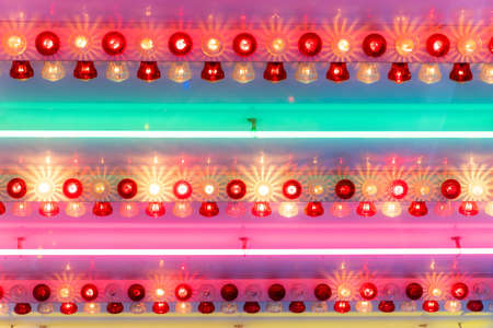 A lot of colorful lamps with colorful lights - great for a cool background or wallpaper Stock fotó