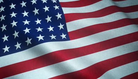 A closeup shot of the waving flag of the United States of America with interesting textures