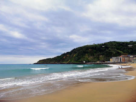 A perfect scenery of a tropical beach in San Sebastian resort town, Spain