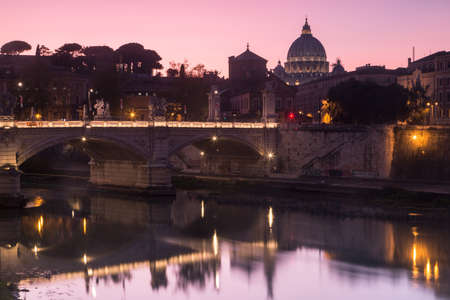 A beautiful shot of Ponte Vittorio Emanuele II during dawn in Rome, Italy