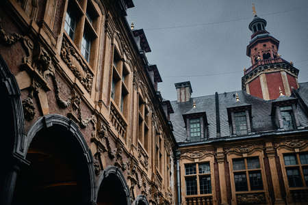 The famous Vieille Bourse building with beautiful sculptures in Lille, France