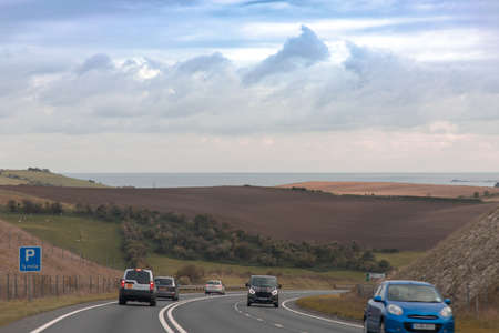The cars driving in the new highway heading towards Weymouth, Dorset, UK