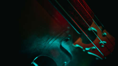 A closeup shot of violin strings with a green light on it Reklamní fotografie