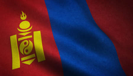 A closeup shot of the waving flag of Mongolia with interesting textures 스톡 콘텐츠