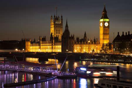 LONDON, UNITED KINGDOM - Nov 11, 2012: The Houses of Parliament illuminated at night Imagens