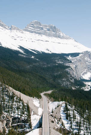 A vertical high angle shot of a highway in the forest near the mountains at the Banff National Park in Alberta, Canada