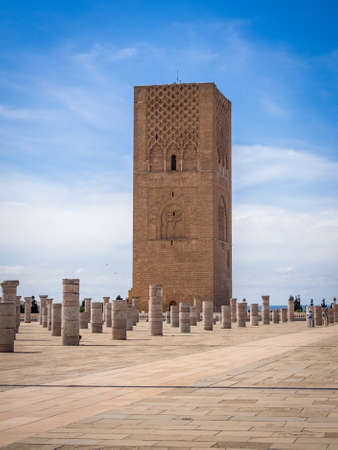 A beautiful view of the famous Tour Hassan in Rabat, Morocco