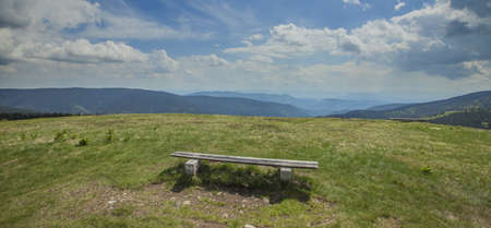 A panoramic hsot of an empty wooden bench in the field near the Ribnica lake in Slovenia