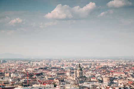 A beautiful top view shot of a city on a sunny day Фото со стока