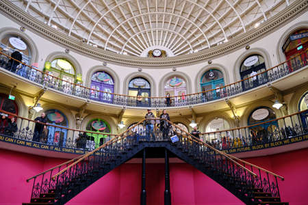 LEEDS, UNITED KINGDOM - Jan 11, 2020: Horizontal shot within the pit inside of the Leeds Corn Exchange showing off the rook details and stair case