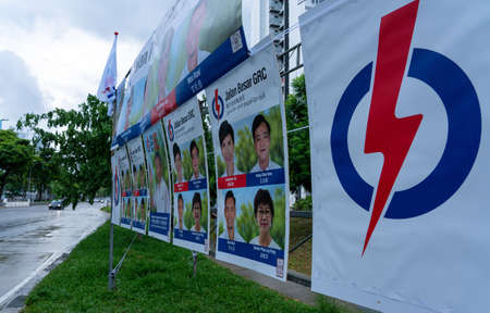 SINGAPORE, SINGAPORE - Jul 04, 2020: Singapore , July the 4th, 2020 : Elections advertising from the PAP , Prime minister Lee Hsien Loong and Josephine Teo, leading the Jalan Besar GRC. 新闻类图片