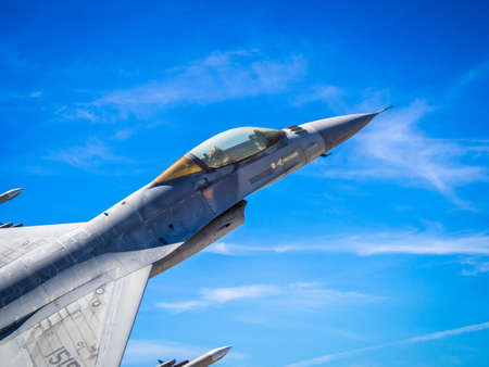 LEIRIA, PORTUGAL - Sep 10, 2017: F-16 fighter-bomber during Real Thaw exercise at Base N.5 MONTE REAL Military Publikacyjne