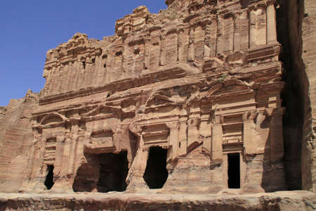 The famous archeological site Petra in Jordan under the sun