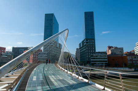 A beautiful view of the city of Bilbao, Spain from the bridge