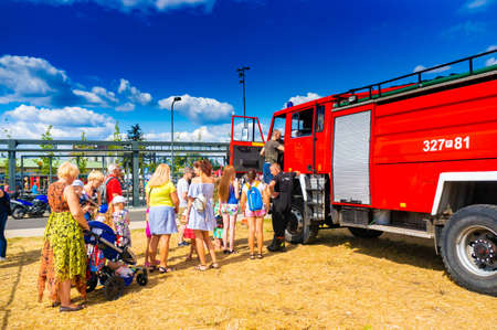 POZNAN, POLAND - Jun 21, 2019: Fire department event in the city with exposition vehicles.